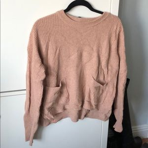 Cute salmon pink madewell sweater with pockets